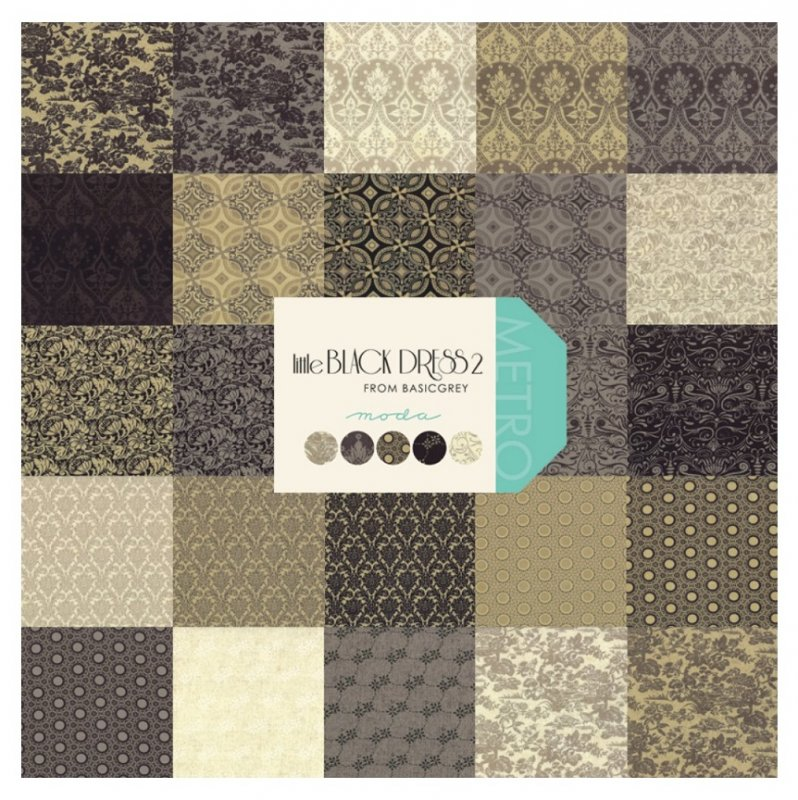 LAST ONE Mesmerize Quilt Kit by BasicGrey with Little Black Dress 2 Cream Floral Fabric Background
