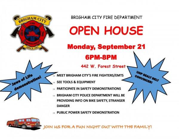 Fire Department Open House - Sept. 21