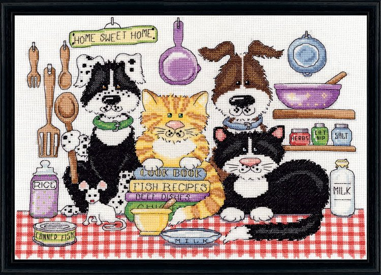 2857 home sweet home 021465028576 for Cross stitch kitchen designs