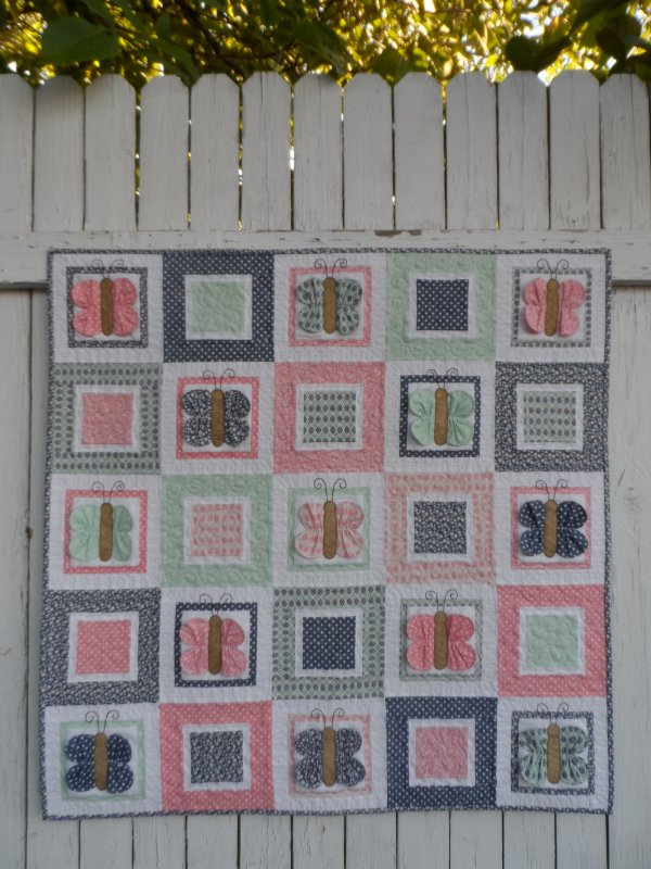 Quilt Patterns For A Girl : Flutterby Butterfly baby girl quilt pattern