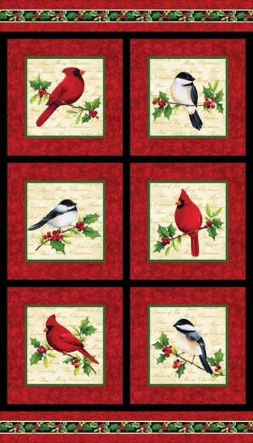 Cardinal Christmas by Northcott Studio Bird Panel 20061-24