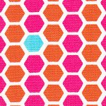Pink and Orange Honeycomb Cotton - Fabric Finders