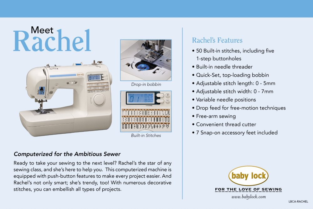 Baby Lock Rachel Sewing Machine In Wilmington Nc
