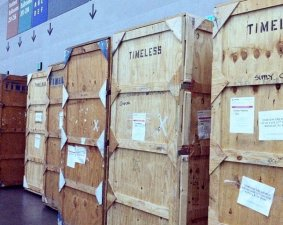 Timeless Treasures crates ready for setup.