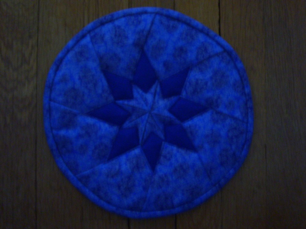 Large Folded Star Mat Blue