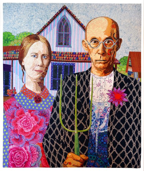 Pictorial Quilts, 3rd Place: 'Ms. MacDonald and the Old Fart... Farm' by Bonnie Keller and Lynn Czaban