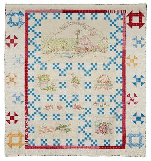 Freehand Quilting, Large, 3rd Place: 'Farm Fresh Produce' by Laurie Jarmer