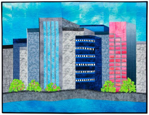 Small Quilts, 3rd Place: 'Made in Portland' by Linda Reinert