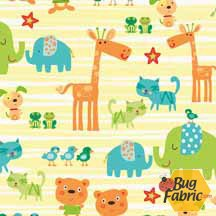 Best Friends: Animals Yellow - Newcastle Fabrics 778-24
