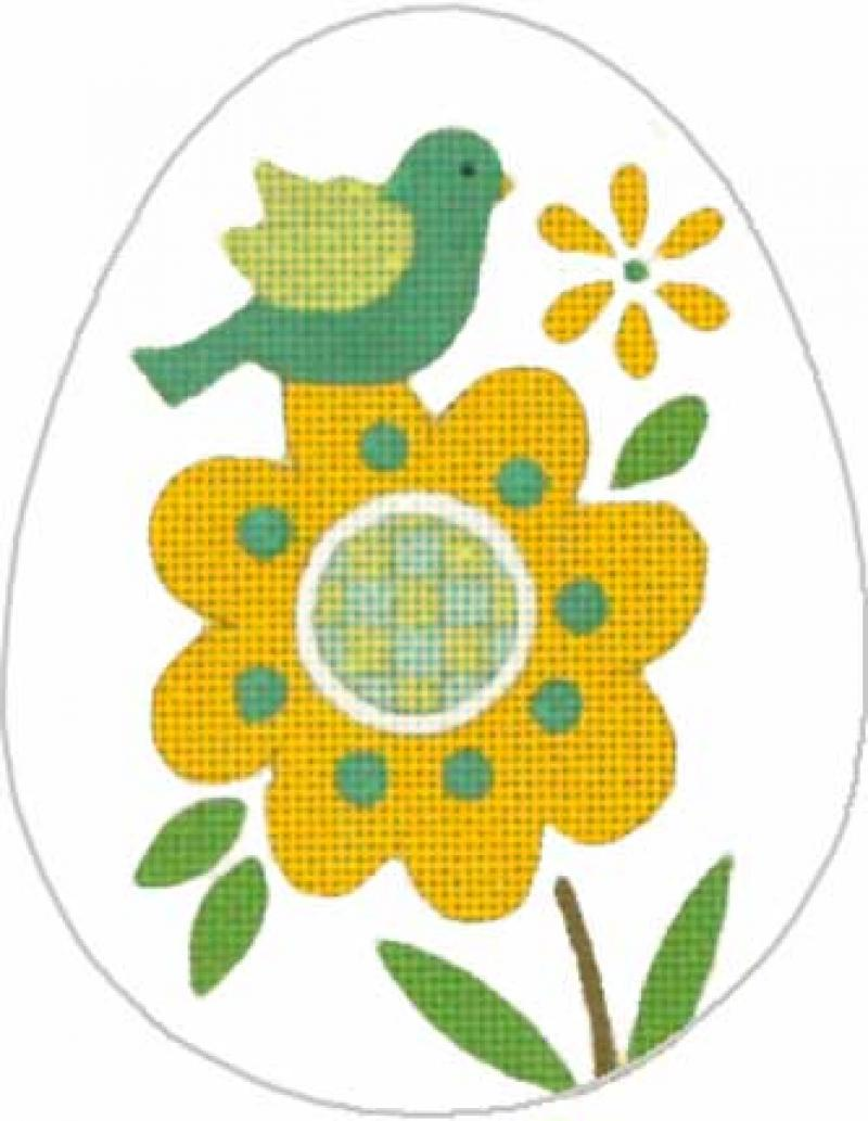 MS1382B Floral Egg Blue Bird