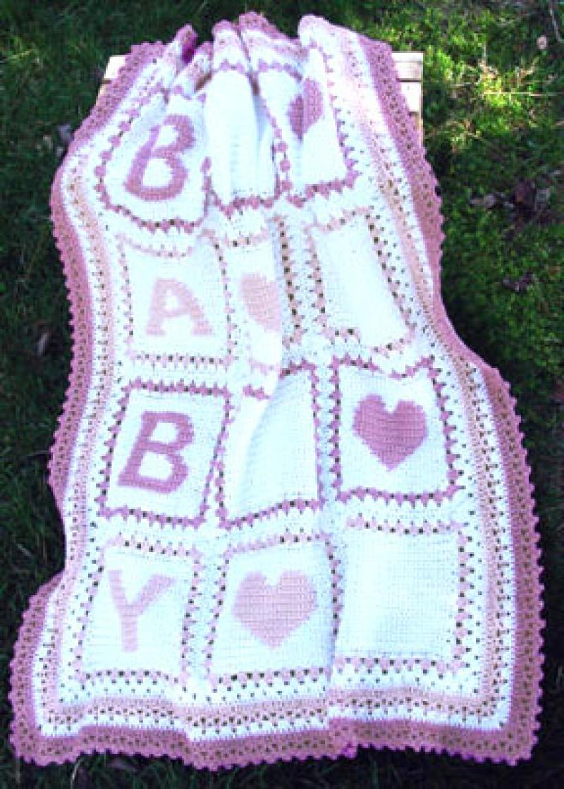 Crocheting Letters On A Blanket : Babys Alphabet Blocks Afghan