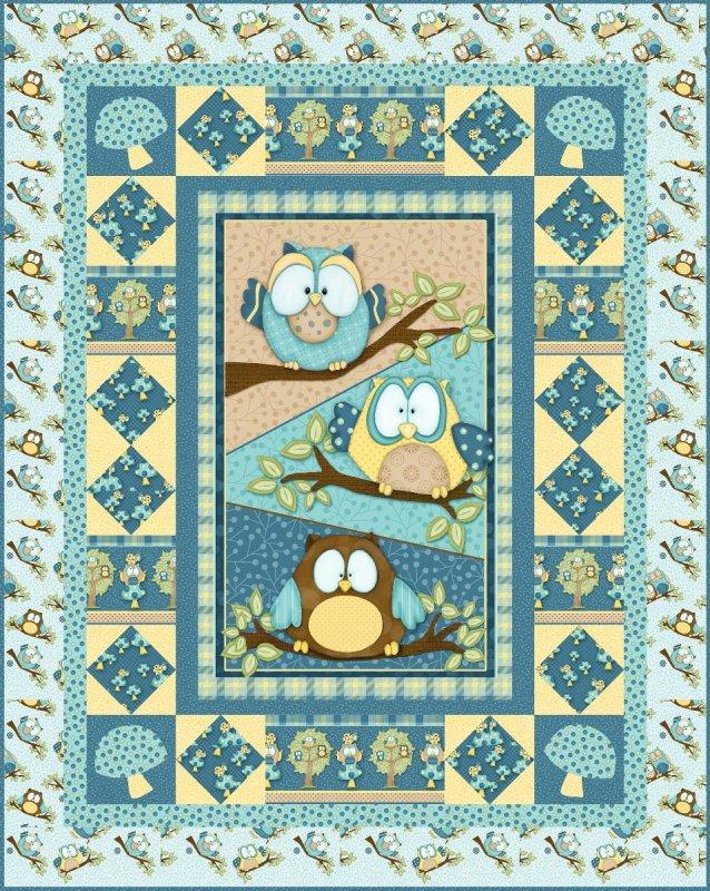 Whoo Me Panel Quilt Kit Boy 17860