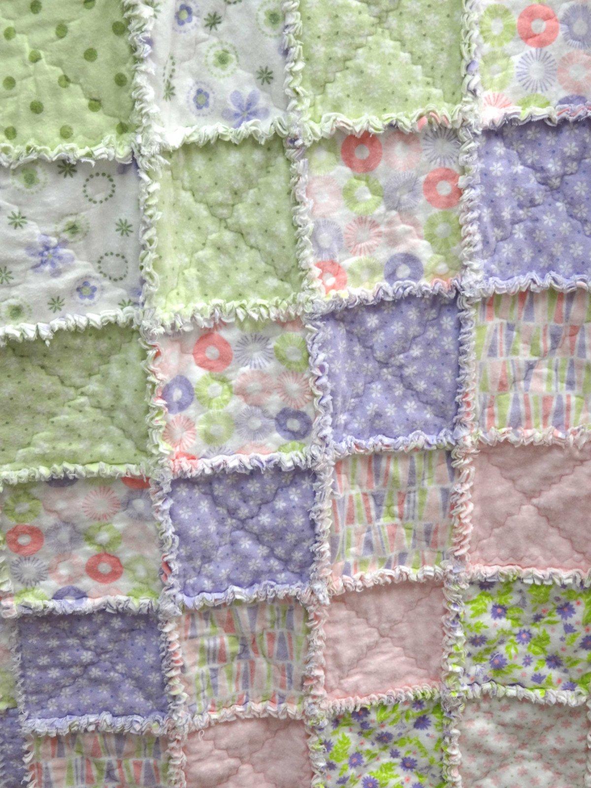 Baby rag quilt kit girl - Quilt rits ...