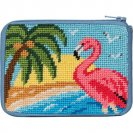 stitch and zip needlepoint flamingo