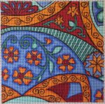 terracotta handpainted needlepoint canvas