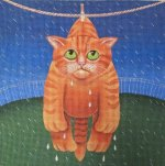 Drying in the Rain needlepoint by Vicky Mount