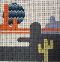 Using a bargello pattern to highlight a single feature on a needlepoint canvas.