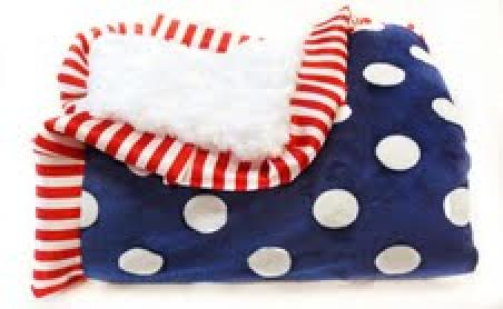 Betsy Patriotic White: Navy and White Polka-Dot Print with White Swirl Back and Red/White Stripe Ruffle