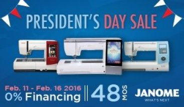 Presidents Week Janome Financing
