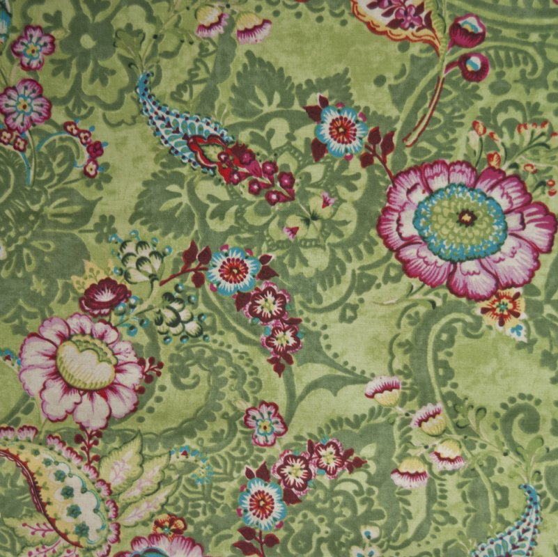 Shabby chic style french country linen fabric drapery fabric cv100 os - Country Garden Green Floral Paisley Crafting By The Yard