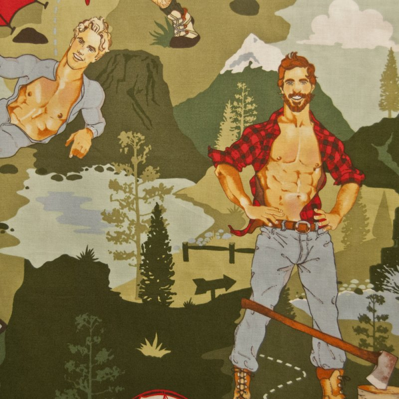 Pin up Fabric Sexy Pin up Guy Outdoorsy Guy