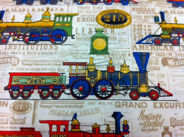 Vintage trains train track children 39 s toy cream red black for Train themed fabric