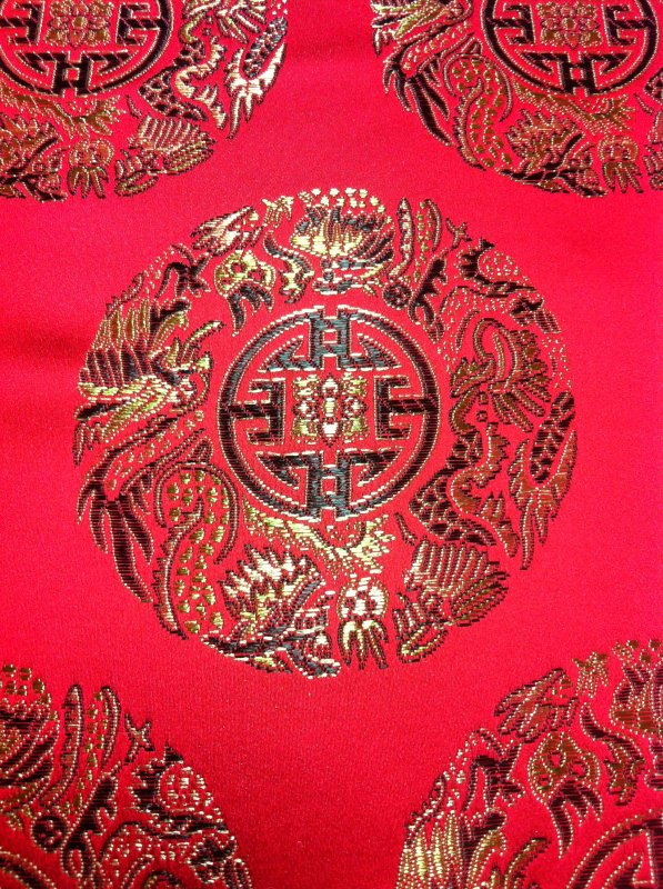 Asia China Japan Medallion Dragon Brocade Gold Asian