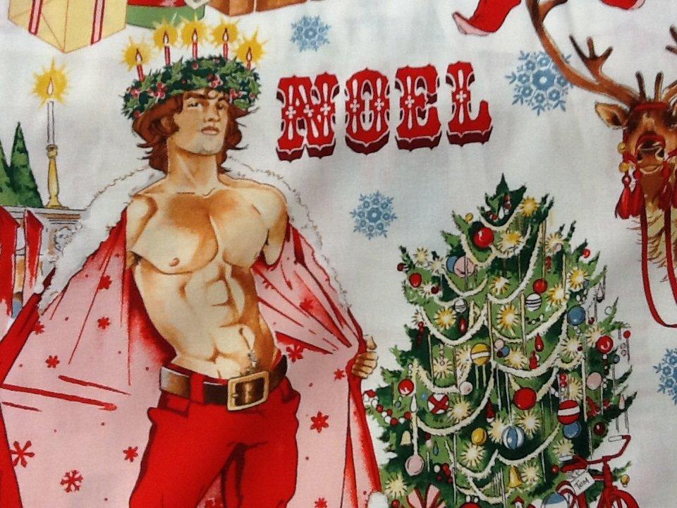 Sexy Pin Up Guy Christmas Santa Alexander Henry Chimney