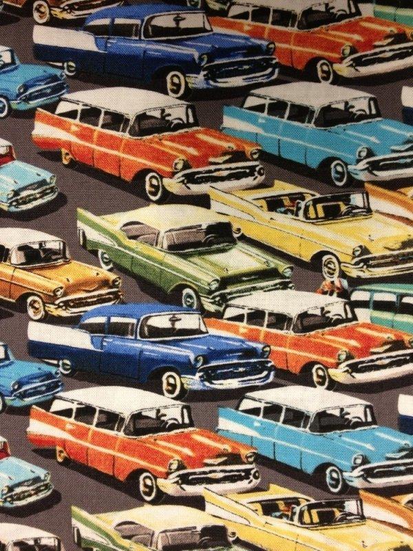 hot rod retro fifties cars auto race car automobile cotton fabric quilt fabric cr320. Black Bedroom Furniture Sets. Home Design Ideas