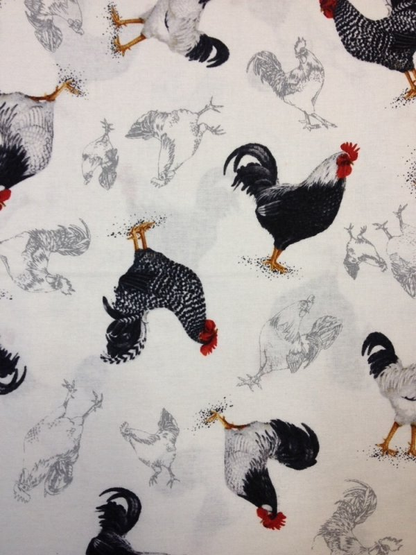 rooster chicken country farm french style cotton fabric