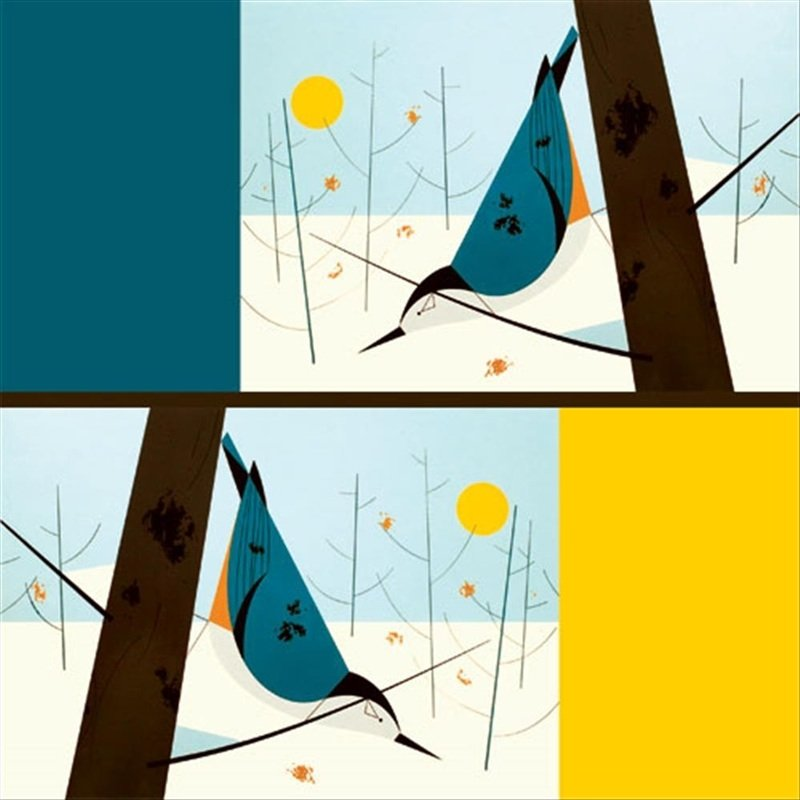 charley harper white breasted nuthatch bird mid century