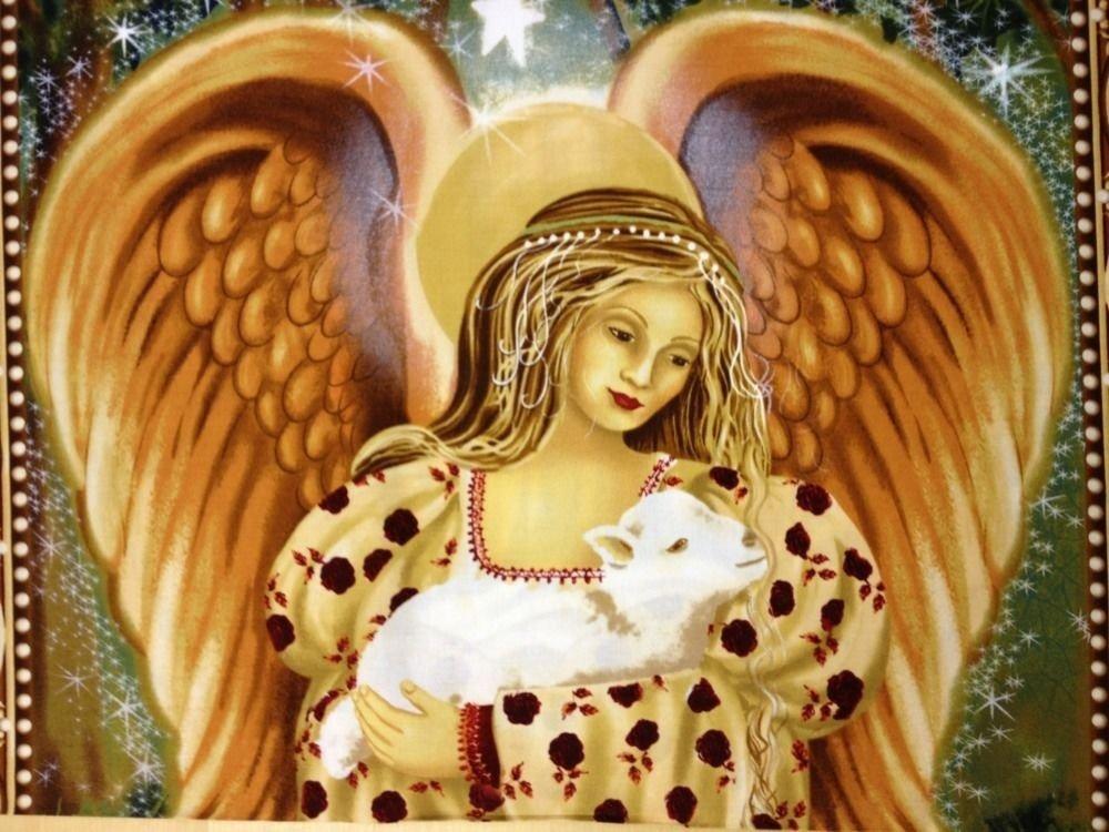 Golden Angel Baby Lamb Large Panel Cotton Fabric Quilt