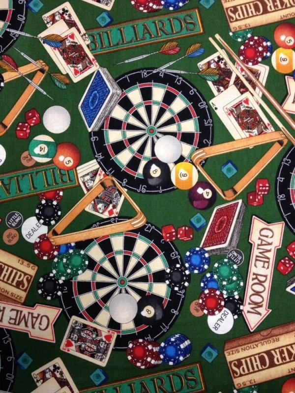 Man cave man of the house games billard room gambling for Space themed fabric