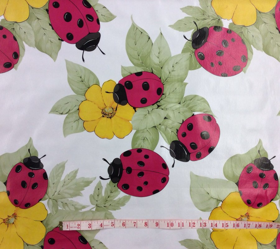Ladybug Vinyl Flannel Backed Oilcloth Picnic Tablecloth