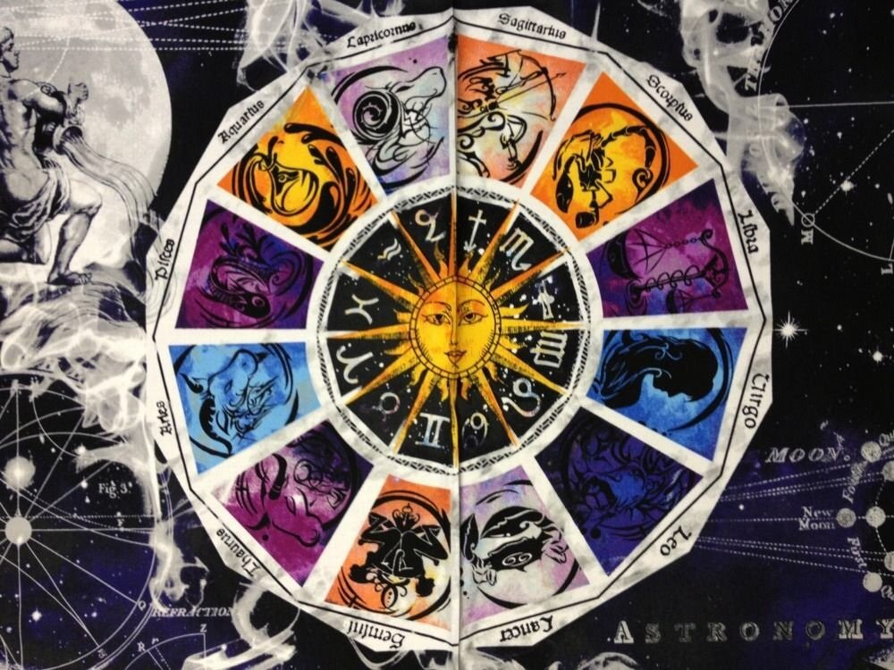 Zodiac sun moon stars galaxy new dawn astrology awesome for Sun and moon material