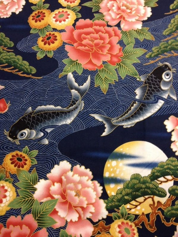 Koi fish pond japanese gardens floral blue cotton fabric for Koi fish print fabric