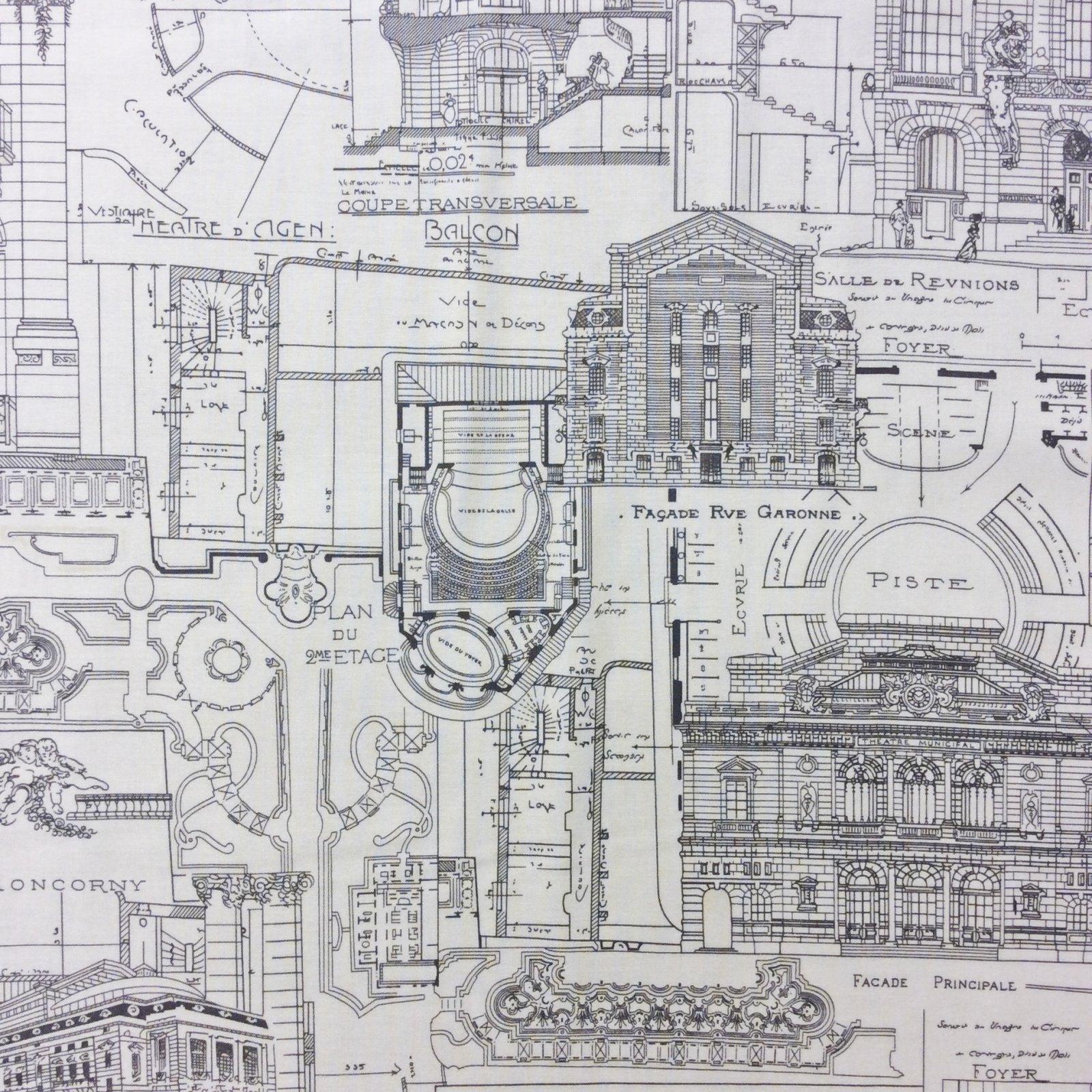 Mo10 Blueprint Building Architecture City Cityscape Quilt