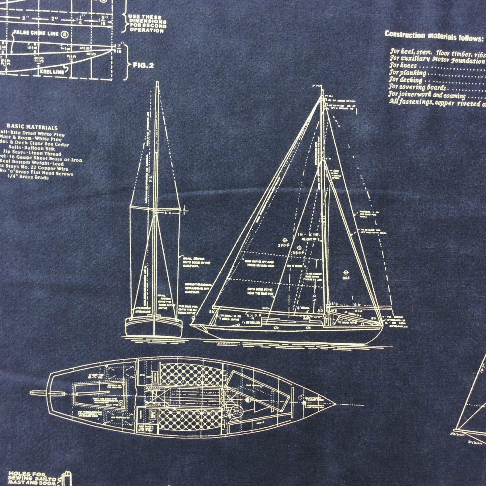 Mo12 Boat Blueprint Sailboat Navy Blue Nautical Quilt