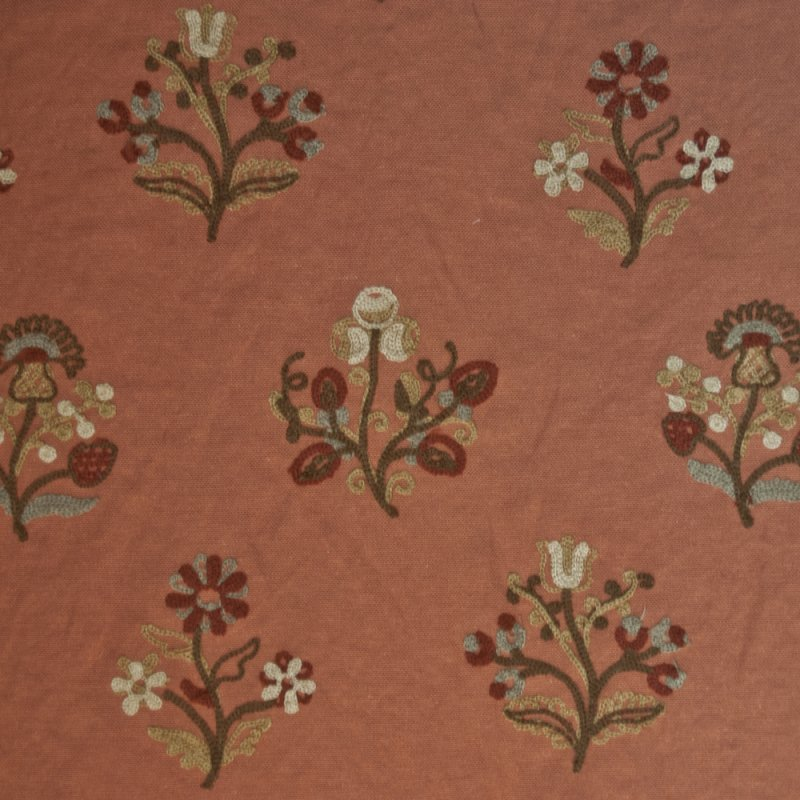 or127 floral crewel embroidered cinnamon by the yard. Black Bedroom Furniture Sets. Home Design Ideas