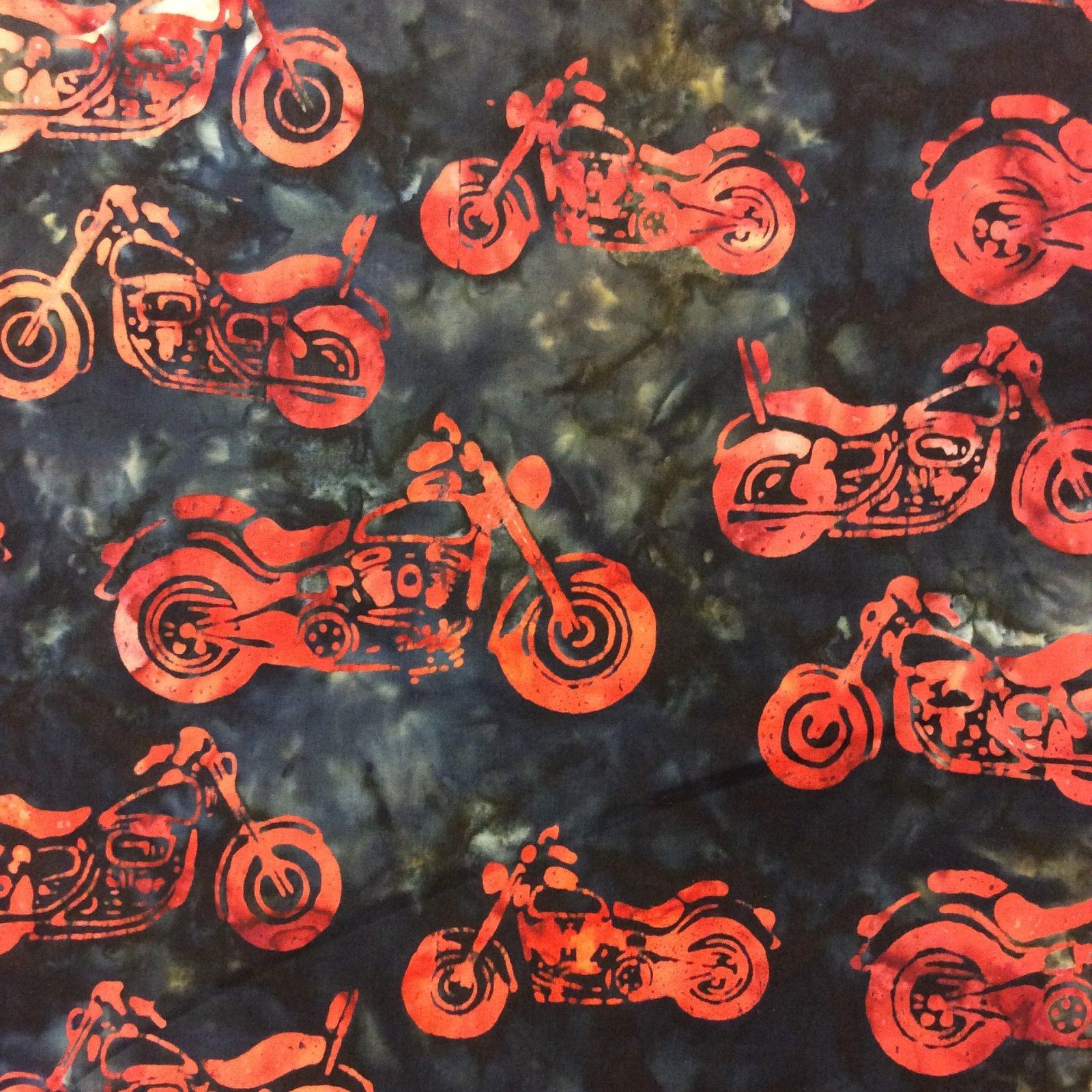 Rk99 Motorcycle Batik Biker Helmet Watercolor Quilt Cotton
