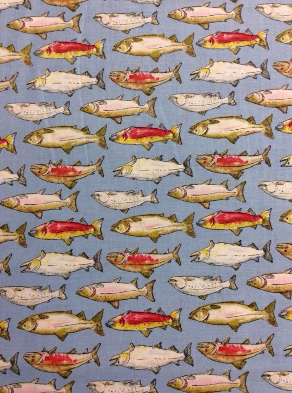 Fishing trails salmon fish fishing cotton fabric quilt for Fish fabric for quilting