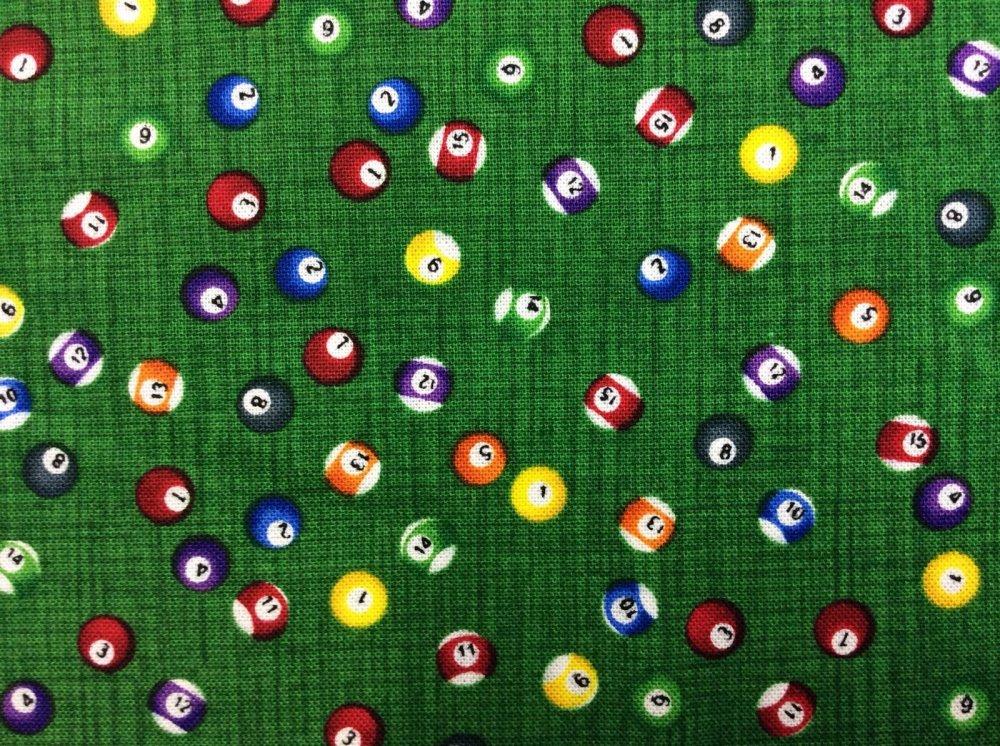 Billiard Balls Pool Table Sports Colorful Cotton Fabric