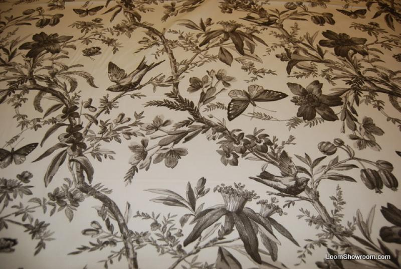 Aviary Toile Ebony Bird Butterfly Heavy Weight Cotton
