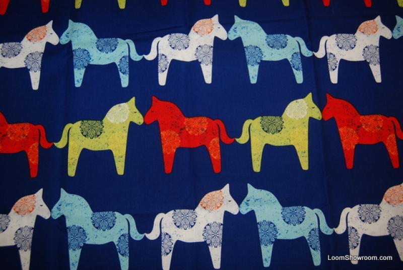 Scandinavian Mid Century Modern Style Horses Norway Print Cotton ...