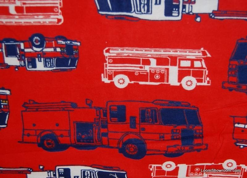 Fire Truck Red Emergency Vehicle Cotton Fabric Soft Flannel ABO135