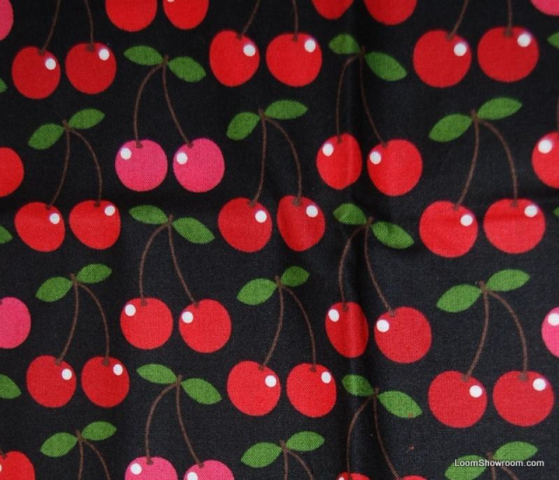 Cherry Retro Cherries Black Background Picnic Summer Quilt ...