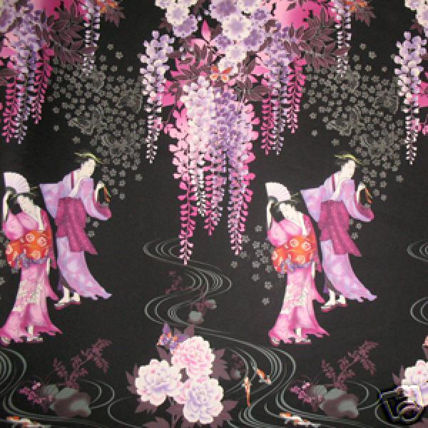 Japanese Geisha Wisteria Asia Zen Cotton Fabric Panel C79