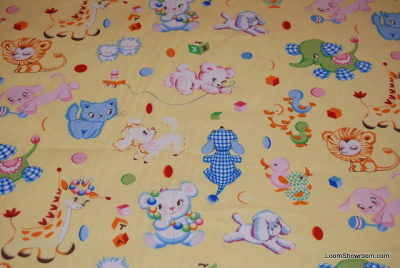 C92 retro vintage baby toy binky 39 s best friends kittens for Vintage childrens fabric by the yard