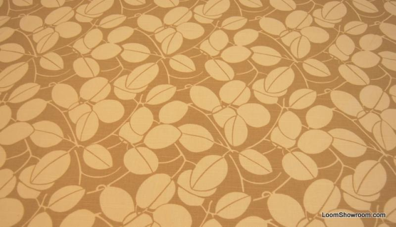 Shabby chic style french country linen fabric drapery fabric cv100 os - Hd116 Modern Cocoa Bean White Leaves On Light Brown
