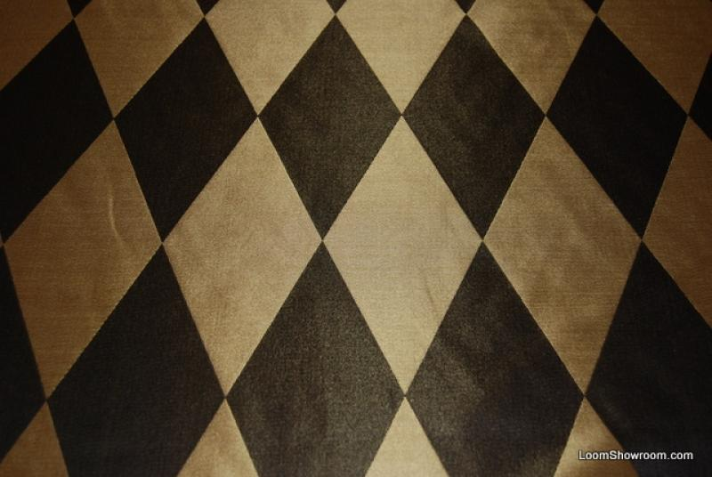 Hd204 Black And Gold Harlequin Diamond Faux Silk Fabric Drapery Fabric Reversible